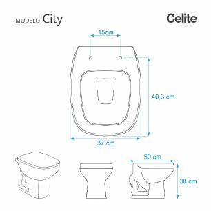Assento Sanitario Poliester Decorado Borboleta Branco City para vaso Celite