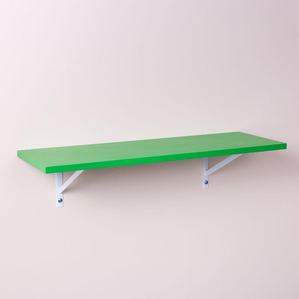 Prateleira Verde 80 X 25cm Com Suporte Mao Francesa