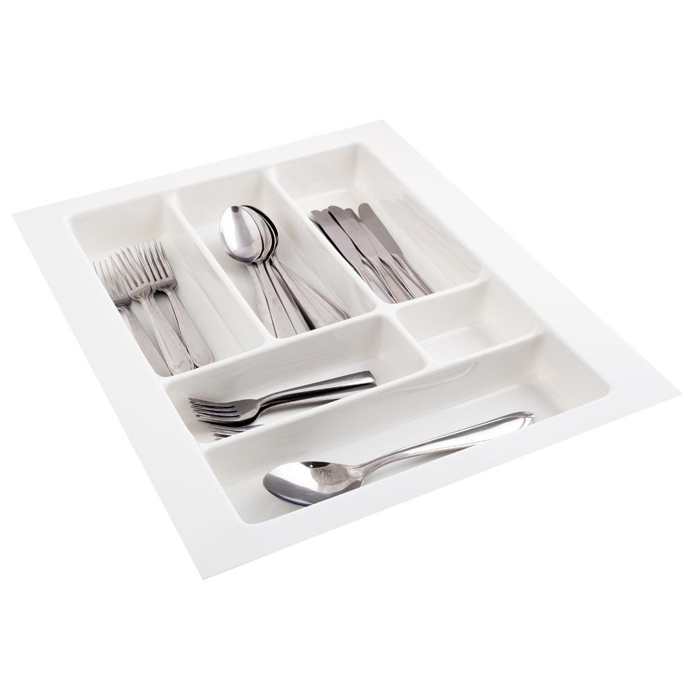 Divisoria De Talheres Para Gavetas De Cozinha - 10101- Branca - 33,5 x 46,5cm a 41,5 x 51,5cm