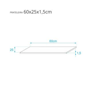 Prateleira Azul 60 X 25cm Com Suporte Invisivel