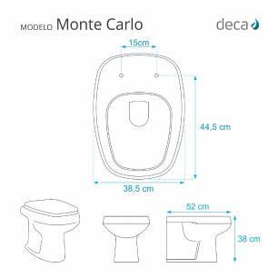 Assento Sanitario Poliester com Amortecedor Monte Carlo Cinza para bacia Deca
