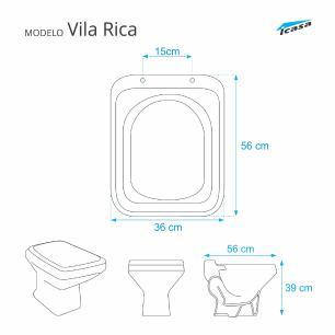 Assento Sanitario Vila Rica Areia (Bege) para vaso Icasa