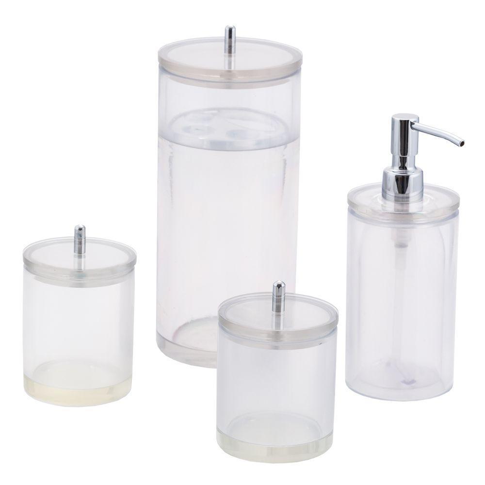 Conjunto de Potes para Banheiro - Redondo - Transparente