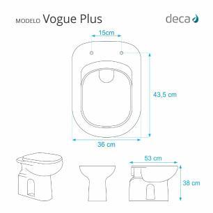 Tampa de vaso Almofadado Vogue Plus Branco para bacia Deca