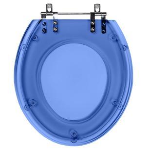 Assento Sanitario Poliester Convencional Oval Azul Translucido