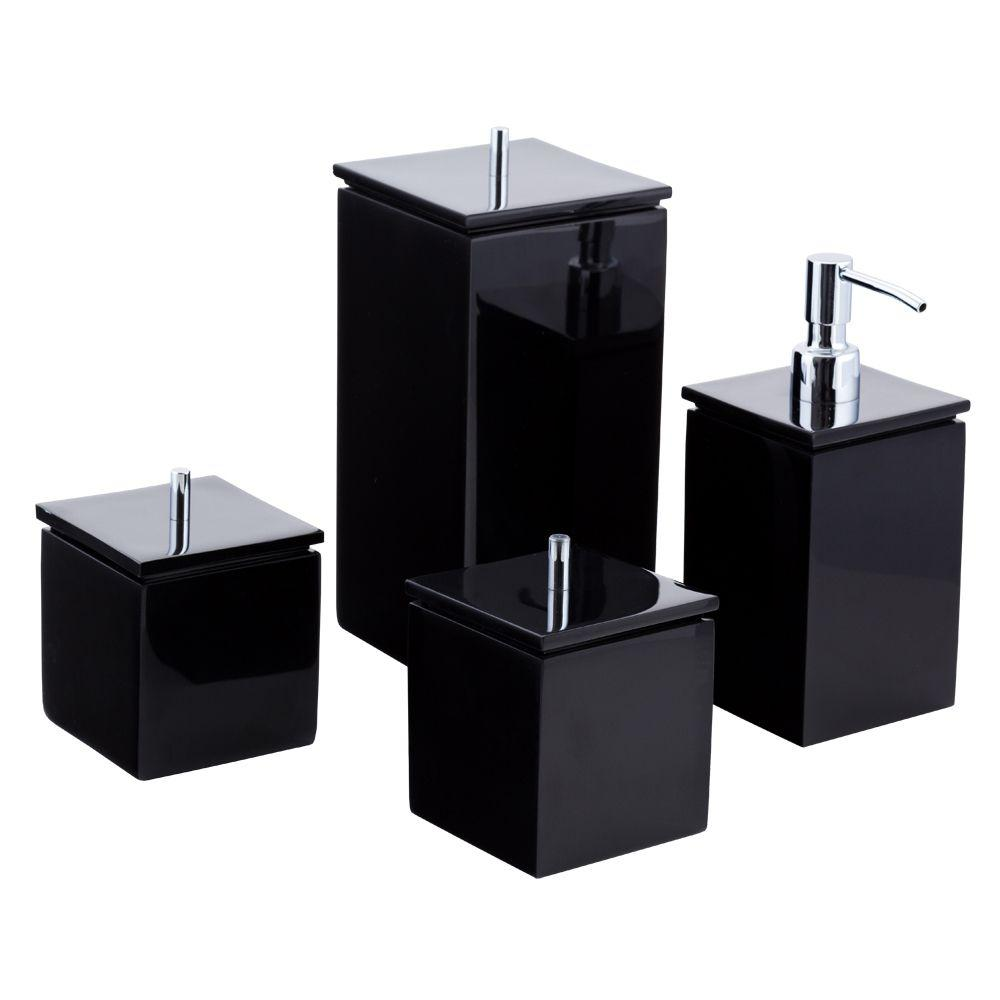 Conjunto de Potes para Banheiro - Quadrado - Preto