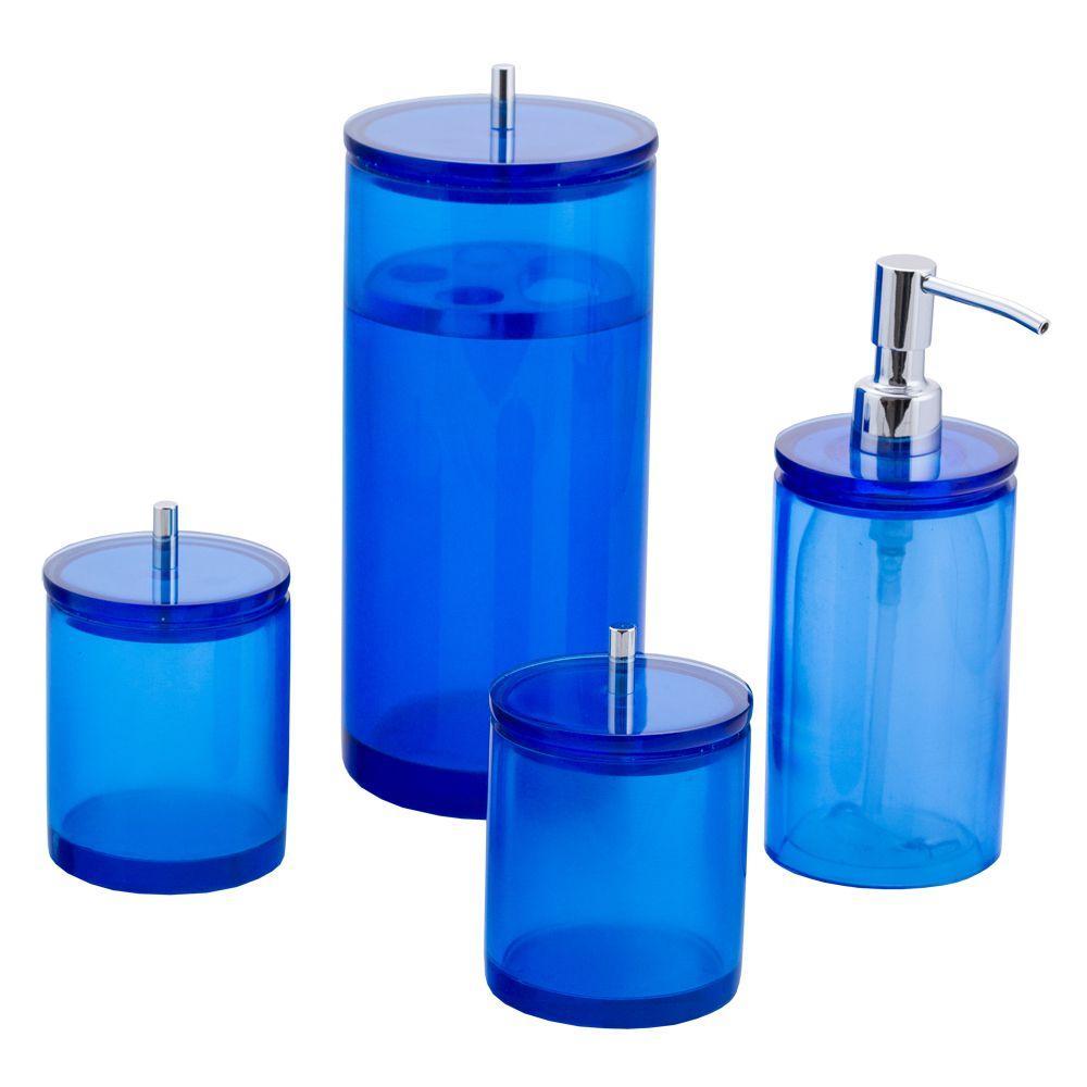 Conjunto de Potes para Banheiro - Redondo - Azul