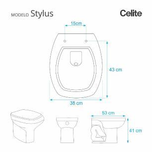 Assento Sanitario Poliester com Amortecedor Stylus Marfim (Bege) para Vaso Celite