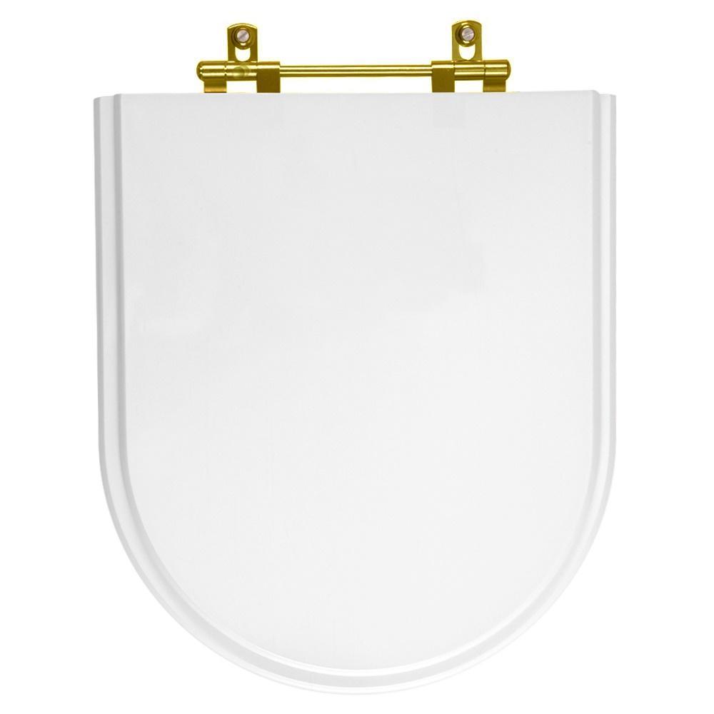Assento Sanitário Poliester Belle Epoque Branco com ferragem Dourada