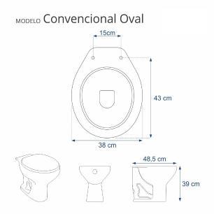 Tampa de Vaso Almofadada Convencioanal | Oval | Universal | 1.6gpf 6lpf Cinza Claro para bacia Deca