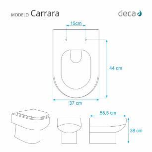 Assento Sanitario Carrara Ébano (Preto) para vaso Deca