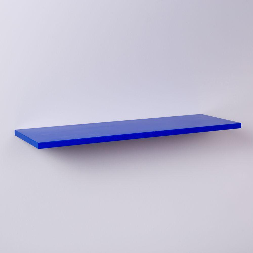 Prateleira Azul 80 X 20cm Com Suporte Invisivel