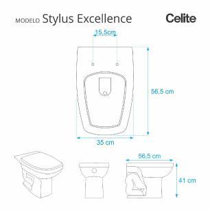 Assento Sanitario Poliester com Amortecedor Stylus Excellence Pergamon (Bege Claro) para Vaso Celite