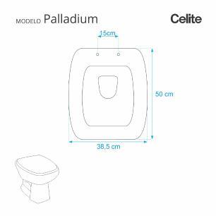 Assento Sanitario Poliester Paladium Cinza Prata para vaso Celite