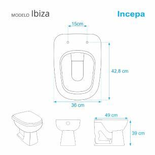 Tampa de Vaso Almofadada Ibiza Cinza Claro para bacia Incepa