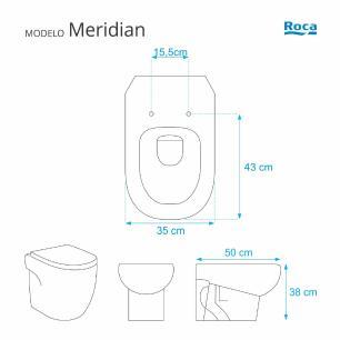 Assento Sanitario com Amortecedor Meridian Branco para vaso Roca