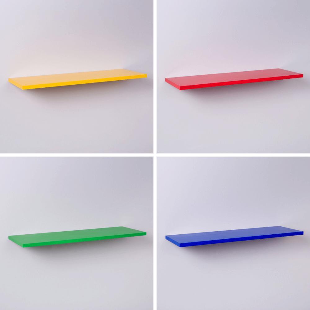 Kit 4 Prateleiras Coloridas 40 X 20cm Com Suporte Invisível