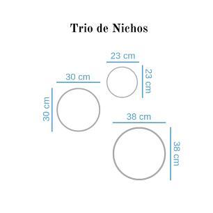 Trio de Nichos Redondos Bege Para Quarto Infantil 23cm - 30cm - 38cm