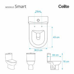 Assento Sanitario Poliester Smart Pergamon (Bege Claro) para vaso Celite