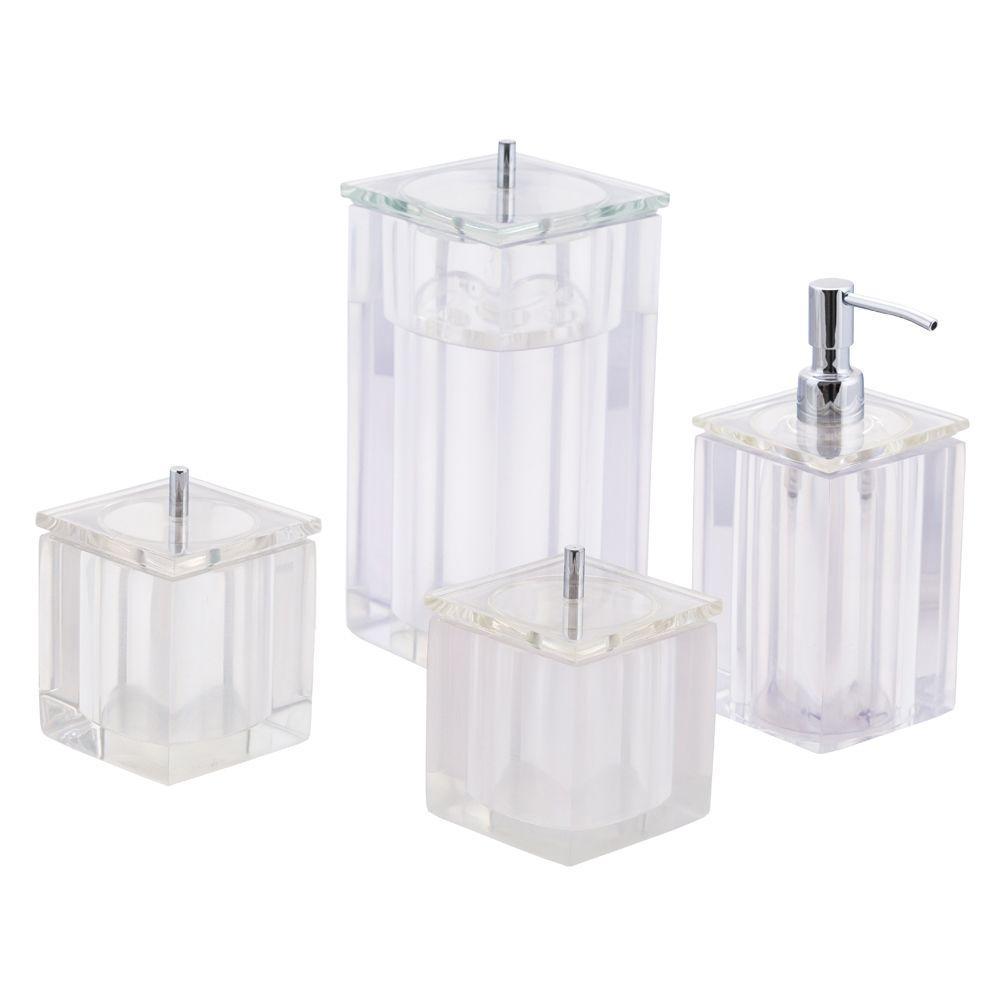 Conjunto de Potes para Banheiro - Quadrado - Transparente