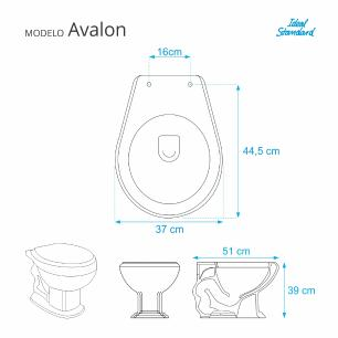 Assento Sanitario Poliester com Amortecedor Avalon Azul Cobalto para Vaso Ideal Standard