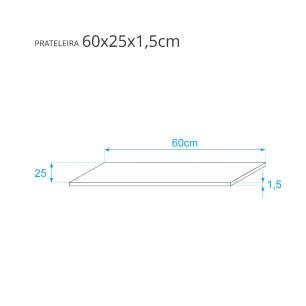 Prateleira Azul 60 X 25cm Com Suporte Tucano