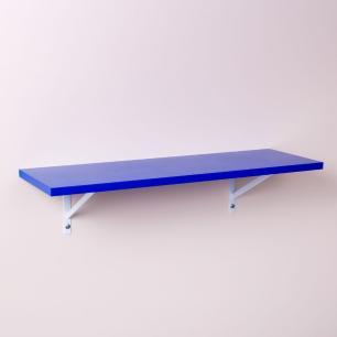Prateleira Azul 80 X 20cm Com Suporte Mao Francesa