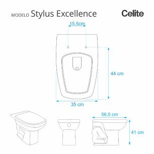 Assento Sanitario Poliester Stylus Excellence Branco para vaso Celite