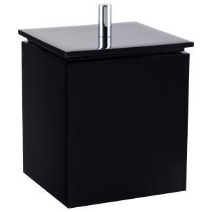 Porta Algodão / Cotonetes para Banheiro - Quadrado - Preto