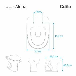 Assento Sanitario Aloha Pergamon (Bege Claro) para vaso Celite