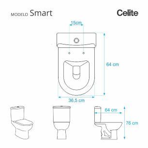 Assento Sanitario Almofadado Smart Pergamon (Bege Claro) para Vaso Celite