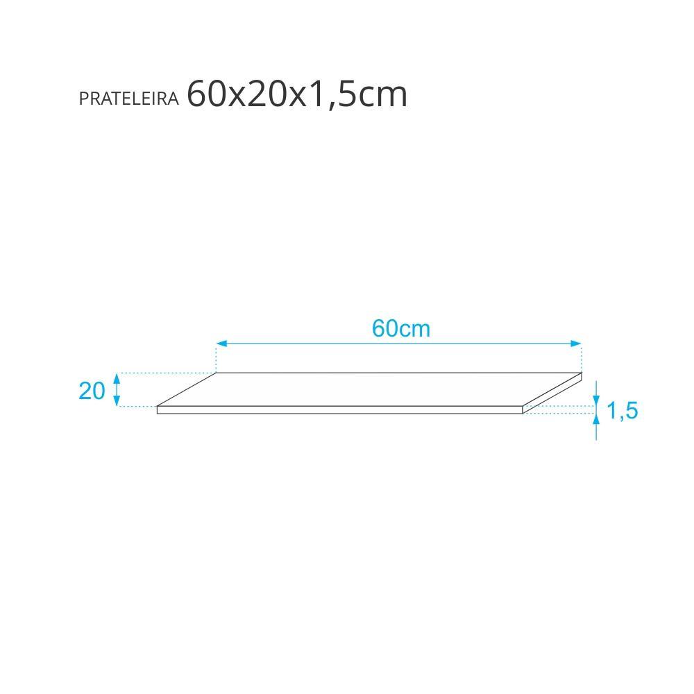Prateleira Rosa 60x20cm Com Fixação Invisível