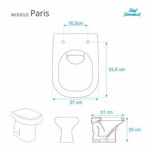 Assento Sanitario Poliester com Amortecedor Paris Silver (Cinza Claro) para Vaso Ideal Standard