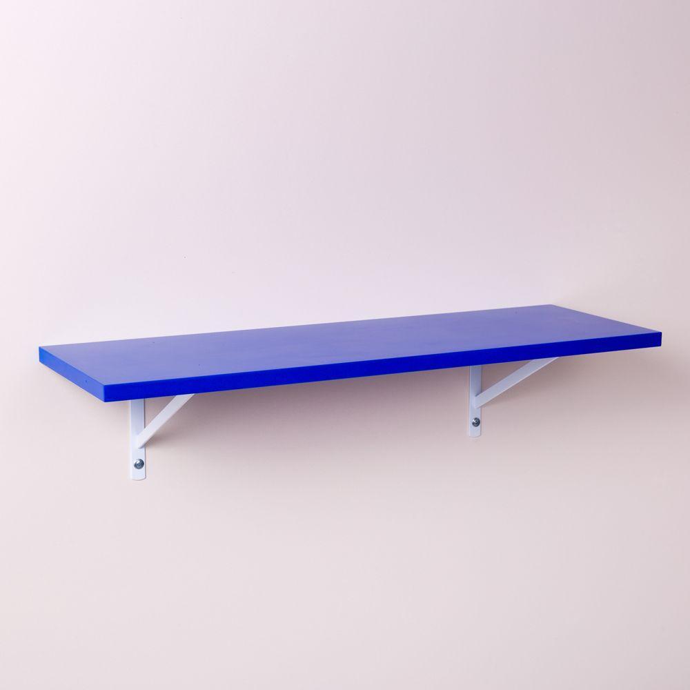 Prateleira Azul 60 X 25cm Com Suporte Mao Francesa