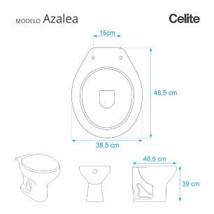Assento Sanitario Poliester com Amortecedor Azalea Pergamon (Bege Claro) para Vaso Celite