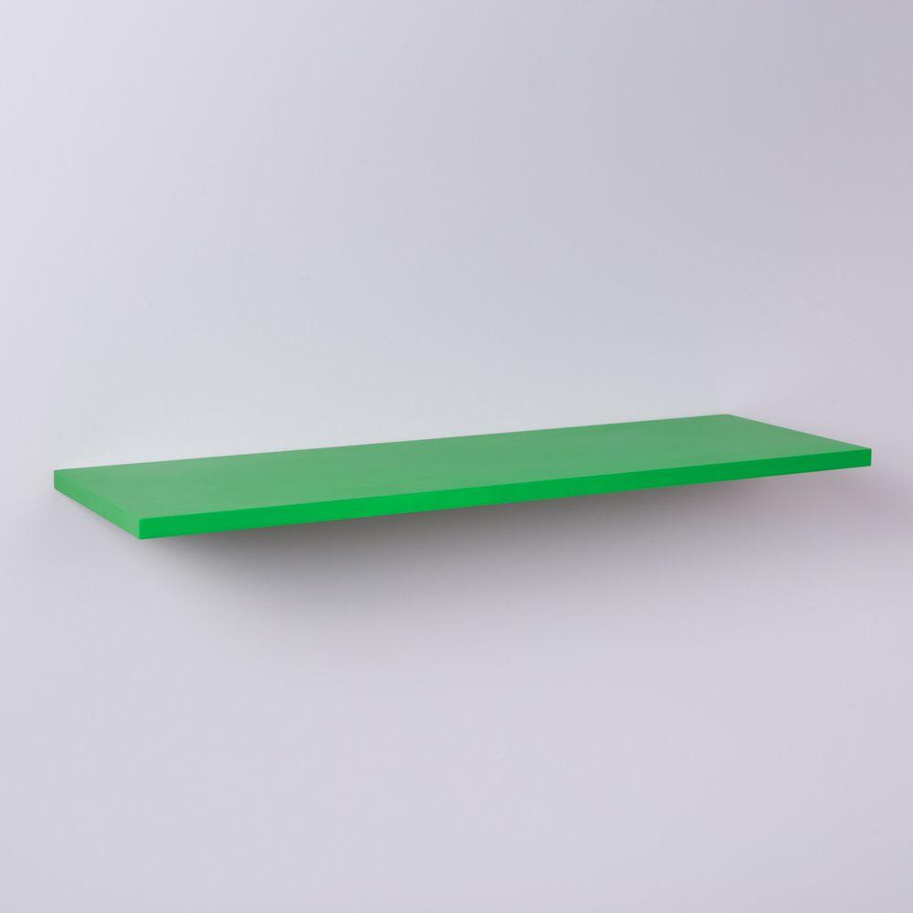Prateleira Verde 100 X 20cm Com Suporte Invisivel
