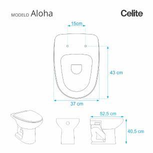 Assento Sanitario Poliester Aloha Cinza Prata para vaso Celite