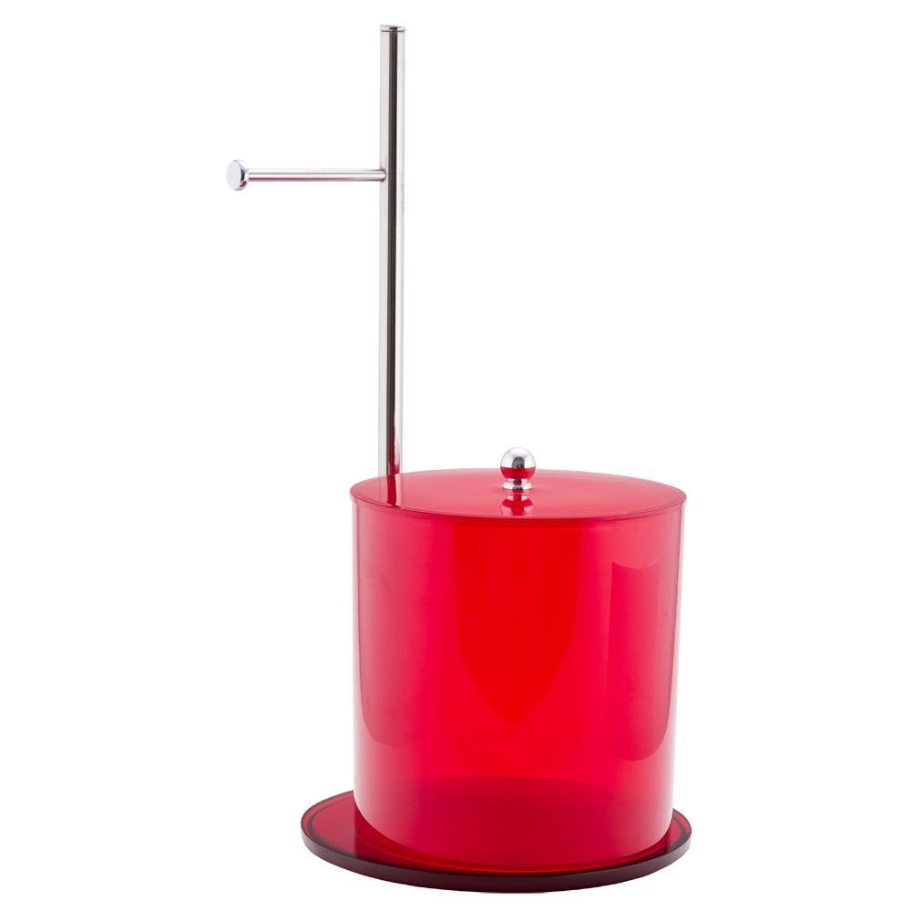 Conjunto Porta Papel Higiênico e Lixeira - Vermelho translucido
