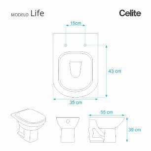 Assento Sanitario Poliester Life Decorado Borboleta Branco para vaso Celite