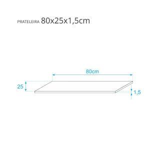 Prateleira Azul 80 X 25cm Com Suporte Mao Francesa