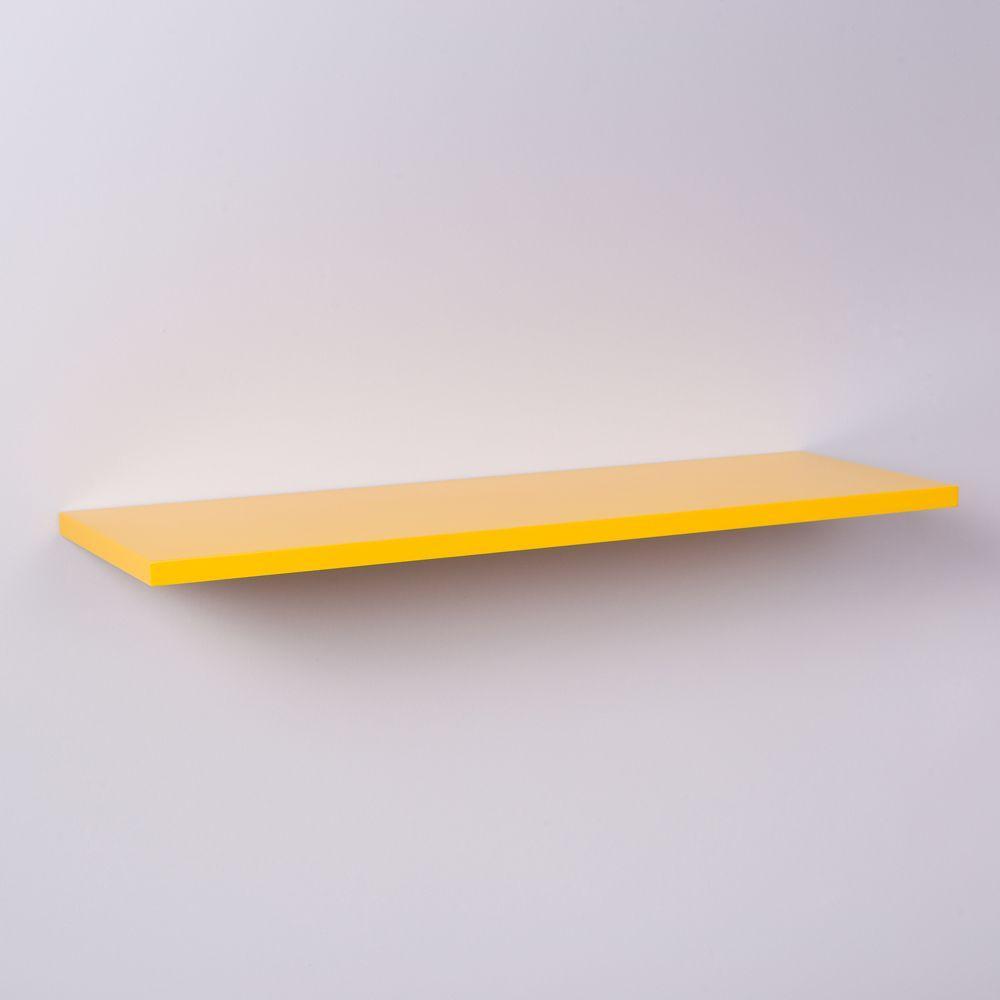 Prateleira Amarela 100 X 20cm Com Suporte Invisivel
