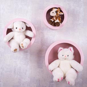 Trio de Nichos Redondos Rosa Para Quarto Infantil 23cm - 30cm - 38cm