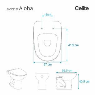 Assento Sanitario com Amortecedor Aloha Branco para Vaso Celite