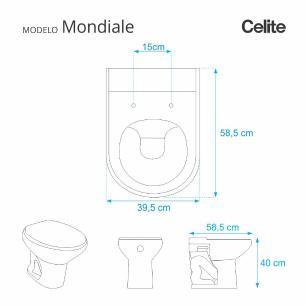 Assento Sanitario Mondiale Pergamon (Bege Claro) para vaso Celite