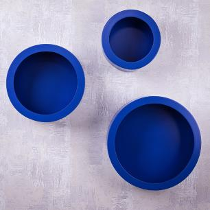 Trio de Nichos Redondos Azul Para Quarto Infantil 23cm - 30cm - 38cm
