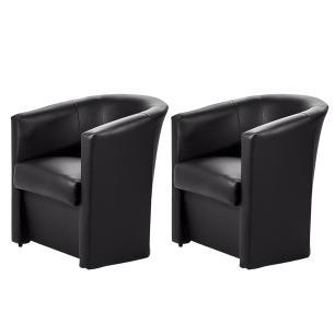 KIT 2 Poltronas Cadeira Ferradura Salão Beleza Espera Preto