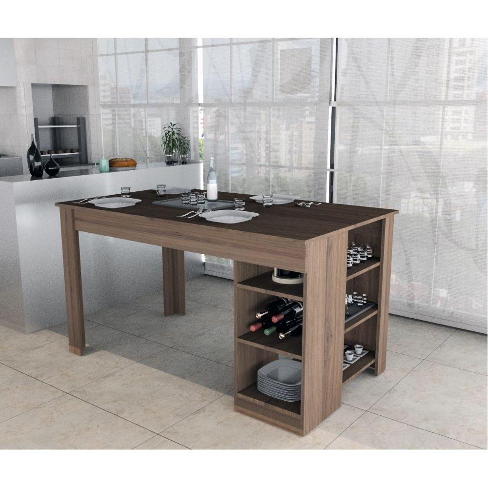 Mesa Para Sala Jantar Cozinha 2 Prateleiras Marrom Nogueira