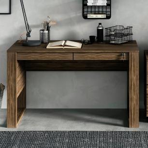 Escrivaninha Mesa de Escritório com Gavetas e Chave Nogal