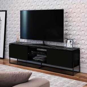 Rack Tv Multifuncional Prateleira De Vidro - Marquina Preto