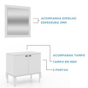 Gabinete De Banheiro Provençal Completo Balcão Cuba Espelho - Branco